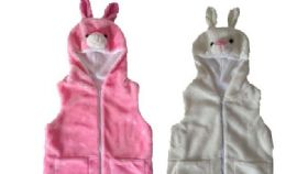 12 Units of VEST WITH RABBIT HOODY FOR KIDS - Winter Animal Hats