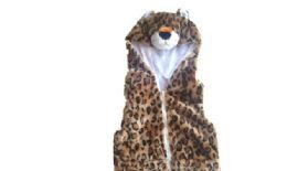 12 Units of VEST WITH LEOPARD HOODY FOR KIDS - Winter Animal Hats