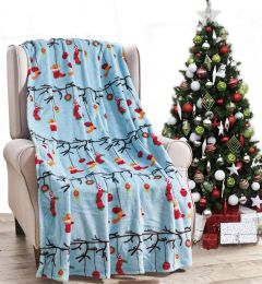 24 Units of Christmas Printed Ornament Tree Fleece Blankets Size 50 x 60 - Fleece & Sherpa Blankets