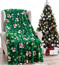 24 Units of Christmas Printed Green Snowman Tree Fleece Blankets Size 50 x 60 - Fleece & Sherpa Blankets