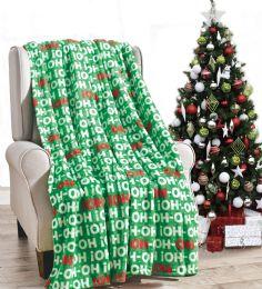 24 Units of Christmas Printed Ho! Ho! Ho! Fleece Blankets Size 50 x 60 - Fleece & Sherpa Blankets