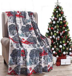 24 Units of Christmas Printed Winter Barn Fleece Blankets Size 50 x 60 - Fleece & Sherpa Blankets