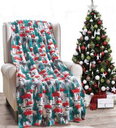 24 Units of Christmas Printed Santa Pick Truck Fleece Blankets Size 50 x 60 - Fleece & Sherpa Blankets
