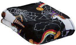 24 Units of Children's Black Unicorn Halloween Printed Fleece Blanket Size 50 X 60 - Fleece & Sherpa Blankets