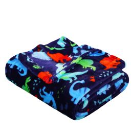 24 Units of Children's Navy Dino Printed Fleece Blanket Size 50 X 60 - Fleece & Sherpa Blankets