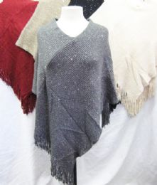24 Units of Women's Heavy Knit Winter Sparkly Shawl - Winter Pashminas and Ponchos