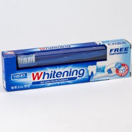 24 Units of Toothpaste W/brush 6.4oz Whitening Boxed - Hygiene Gear