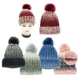 24 Units of Lady's Winter Cable Knit Beanie Hat - Winter Beanie Hats