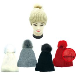 24 Units of Lady's Winter Cable Knit Beanie Hat Fur Lined - Winter Beanie Hats