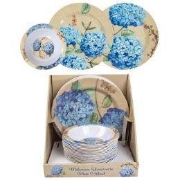 64 Units of Dinnerware Melamine Hydrangea - Plastic Dinnerware