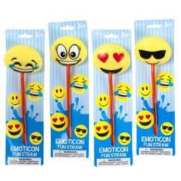24 Units of Emoticon Fun Straw - Straws and Stirrers