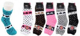 72 Units of Women's Soft Fuzzy Socks Heart Design Size 9-11 - Womens Fuzzy Socks