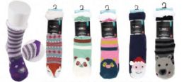 36 Units of Women's Soft Sherpa Socks With Non-Slip Bottom Animal Design Size 9-11 - Womens Crew Sock