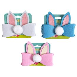 24 Units of Headband Stretchy Bunny Ear Bow With Tail - Easter