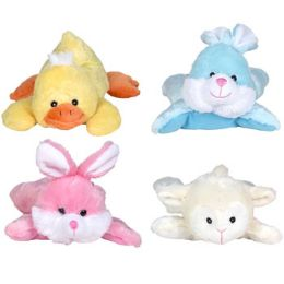 24 Units of Plush Easter Chick Lamb Bunny With Ribbon - Easter