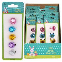 48 Units of Ring Set Jumbo Gems - Easter