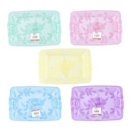 48 Units of Serving Tray With Embossed Rose And Leaves - Easter
