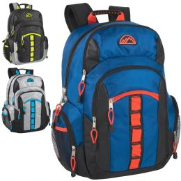 """24 Units of 19 Inch Mountain Edge Multi Pocket Daisy Chain Backpack With Laptop Sleeve - 3 Colors - Backpacks 18"""" or Larger"""
