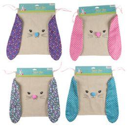 24 Units of Treat Bag Bunny Ear Burlap - Easter