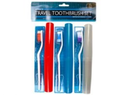 36 Units of 6 Piece Travel Toothbrush Set With Cases - Toothbrushes and Toothpaste