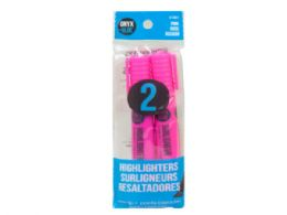 72 Units of 2 Pack Pink Broad Highlighters - Markers and Highlighters