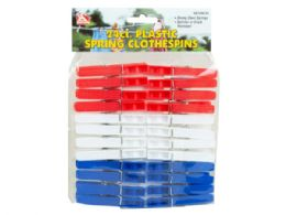 72 Units of 24 Count Plastic Spring Clothespins - Laundry  Supplies