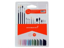 36 Units of 15-Piece Artist Brush Set - Paint, Brushes & Finger Paint
