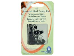 144 Units of Helping Hands 40 Piece Black Saftey Pins - Store