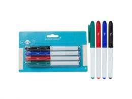 72 Units of Dry Erase Markers, Fine Point Tip, Blk/blu/rd/grn (4pk) - Dry Erase
