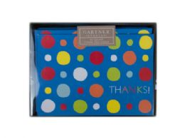 72 Units of 24 Count Multi Color Dots Thank You Card Set - Labels ,Cards and Index Cards