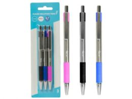72 Units of Retractable Classic Ballpoint Pens, Black/Blue/Pink (3Pk) - Ballpoint Pens