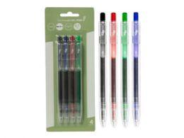 72 Units of Eco Retractable Gel Pen, Black/blue/red/green (4pk) - Pens