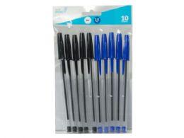 75 Units of Ballpoint Stick Pens, Black/blue (10pk) - Pens