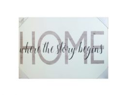 6 Units of 24x36 Leather Canvas Wall Art In Assorted Home Phrases - Store