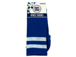 72 Units of Create Out Loud Blue And White Knee Socks - Store