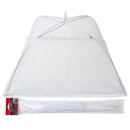 72 Units of Food Umbrella White Mesh With Lace Edges - BBQ supplies