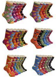 360 Units of Women's Mix Food Print Crew Socks - Womens Crew Sock