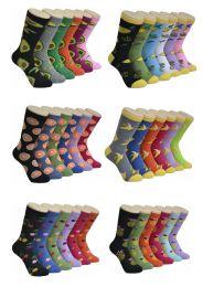 360 Units of Women's Mix Fruit Print Crew Socks - Womens Crew Sock
