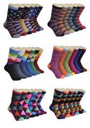 360 Units of Women's Mix Geo Series Printed Crew Socks - Womens Crew Sock