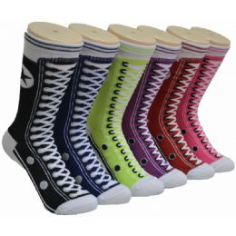 360 Units of Women's Sneaker Printed Socks - Womens Crew Sock