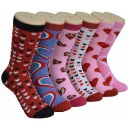 360 Units of Women's Heart Printed Crew Socks - Womens Crew Sock