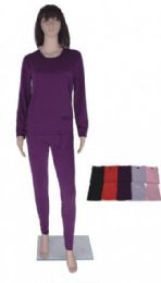 60 Units of Women's Thermal Set Top And Bottom Assorted Colors - Womens Thermals