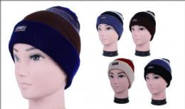 72 Units of Men's Winter Sport Stripe Hat With Fur Lined - Winter Beanie Hats