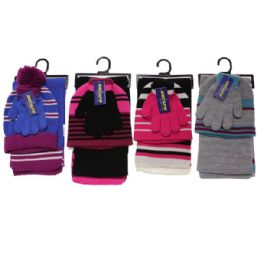 30 Units of GIRLS 3-PIECE STRIPE SET HAT-GLOVES-SCARF - Winter Sets Scarves , Hats & Gloves
