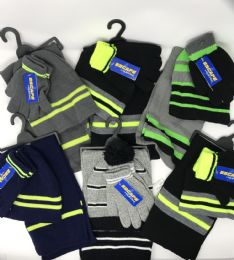 36 Units of Boys 3-Piece Stripe Set HaT-GloveS-Scarf - Winter Sets Scarves , Hats & Gloves