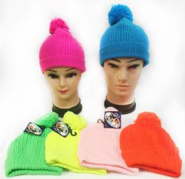 48 Units of Knitted Neon Color Unisex Winter Pompom hats Assorted - Winter Hats