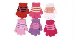 60 Units of Toddler Girls Winter Magic Glove Stretchy Warm - Kids Winter Gloves