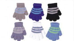 60 Units of Boys Winter Magic Glove Stretchy Warm - Kids Winter Gloves