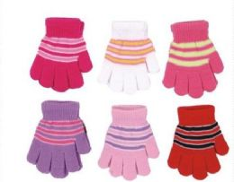 60 Units of Girls Winter Magic Glove Stretchy Warm - Kids Winter Gloves