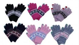 60 Units of Womens Knitted Winter Stretch Gloves - Knitted Stretch Gloves